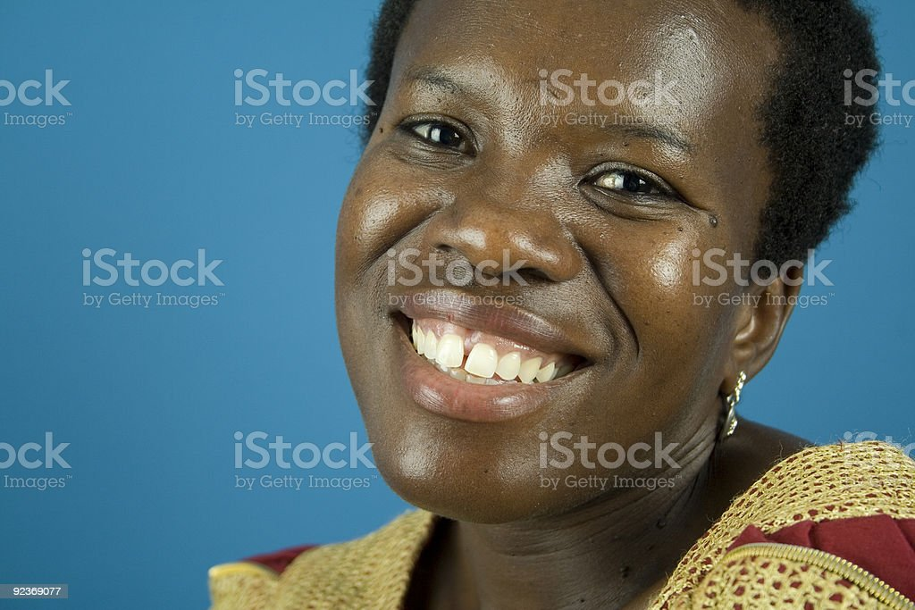 African woman smiles stock photo