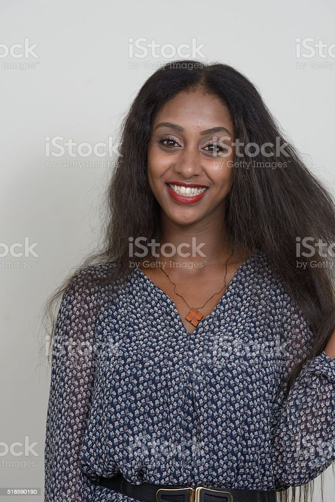 African woman smiling stock photo