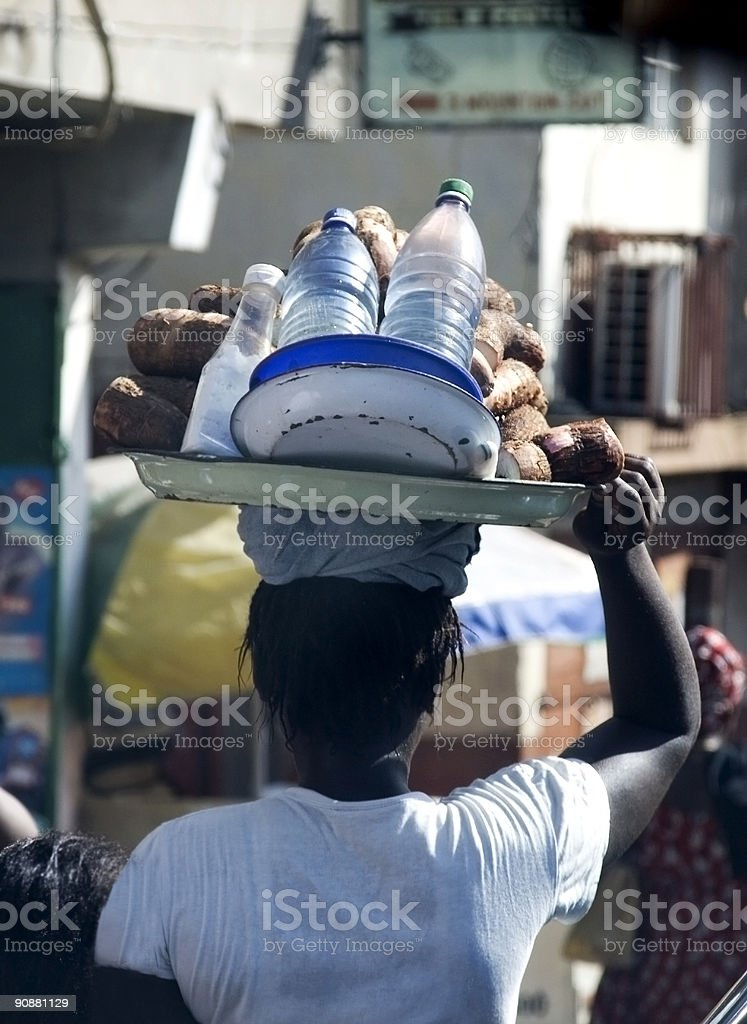 African Woman with a basket stock photo