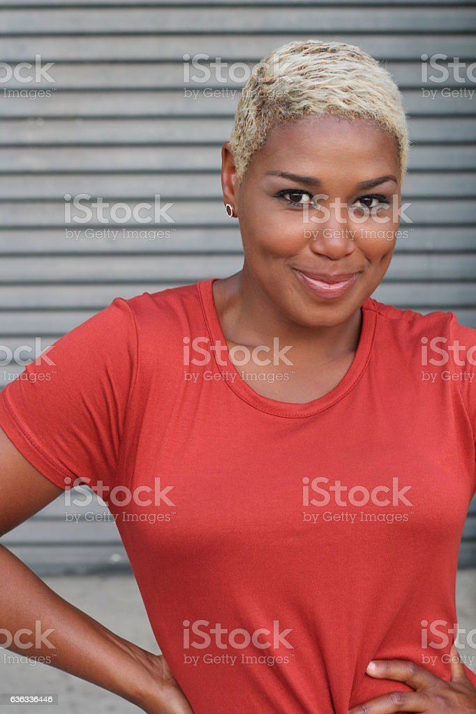 African woman with modern short haircut stock photo