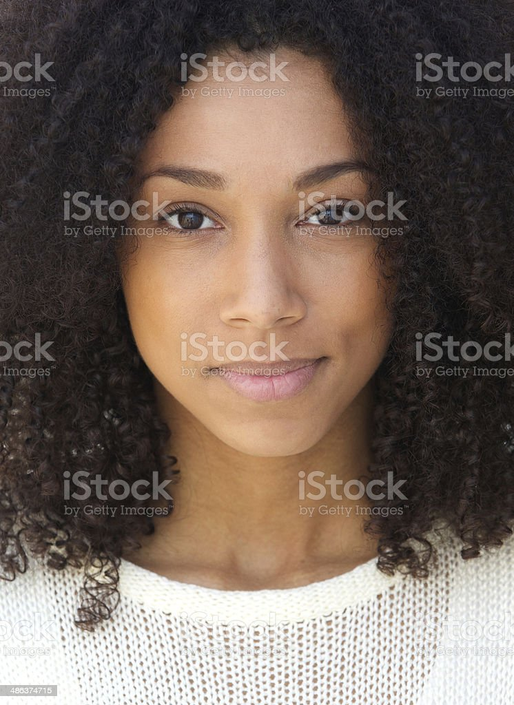 African woman with serious expression stock photo