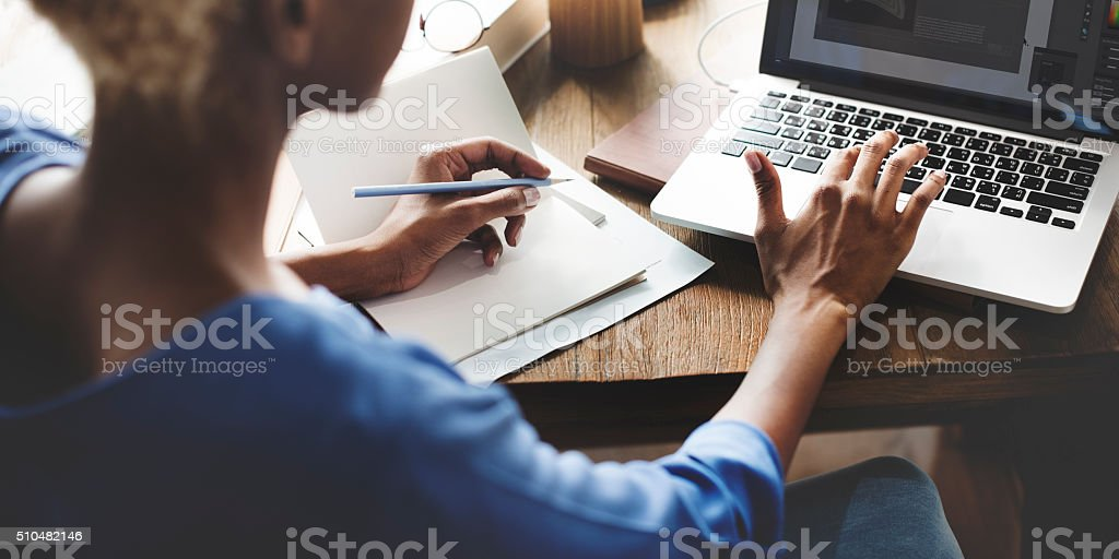 African Woman Working Design Creative Concept stock photo