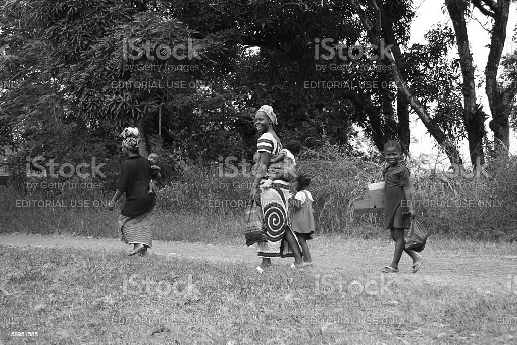 African Women and Children Walking stock photo