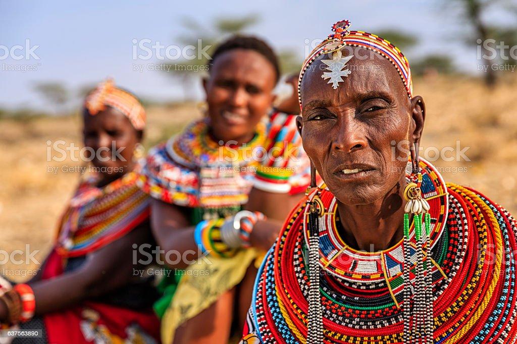 African women from Samburu tribe, Kenya, Africa stock photo