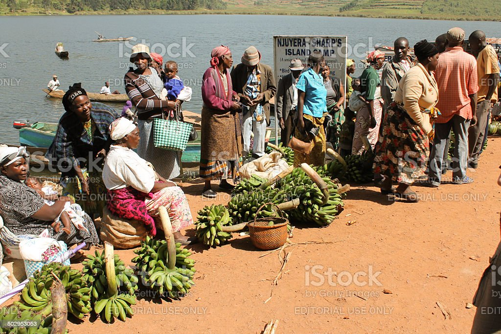 African women selling bananas in the market. stock photo