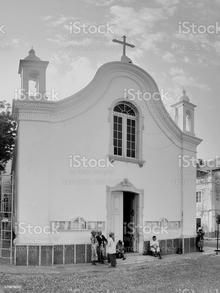 African Women  Socializing At Mindelo Church stock photo