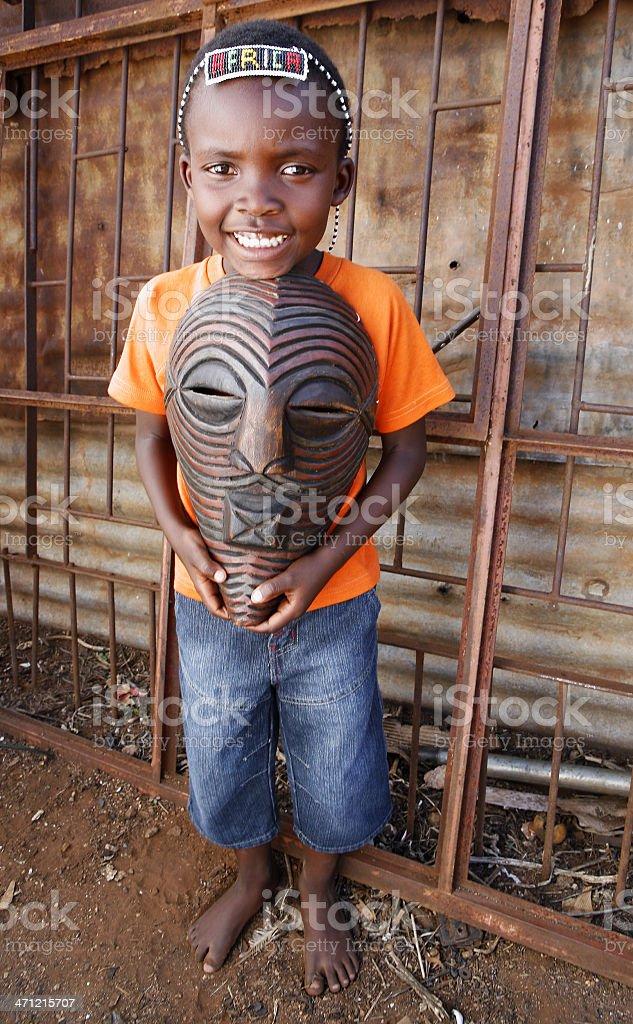 African Zulu boy tribalmask royalty-free stock photo