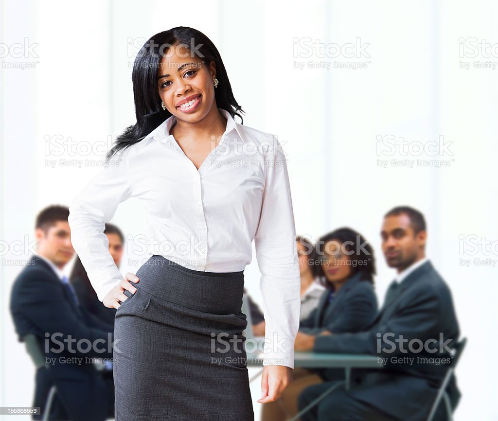 African-American businesswoman in a conference room stock photo