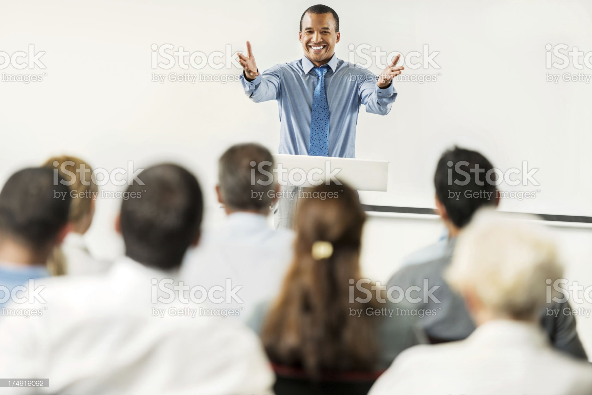 African-American man having a public speech. royalty-free stock photo