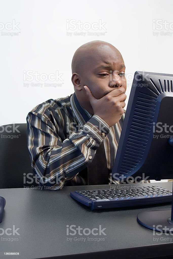 African-American Men at a Computer royalty-free stock photo