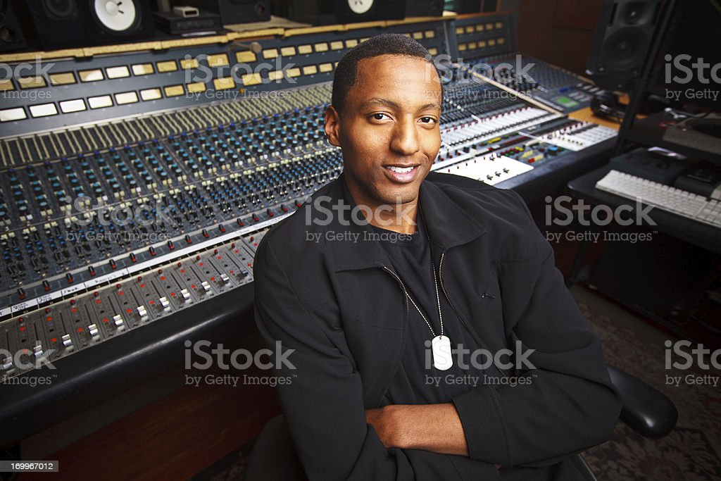 African-American Recording Engineer in the Studio royalty-free stock photo