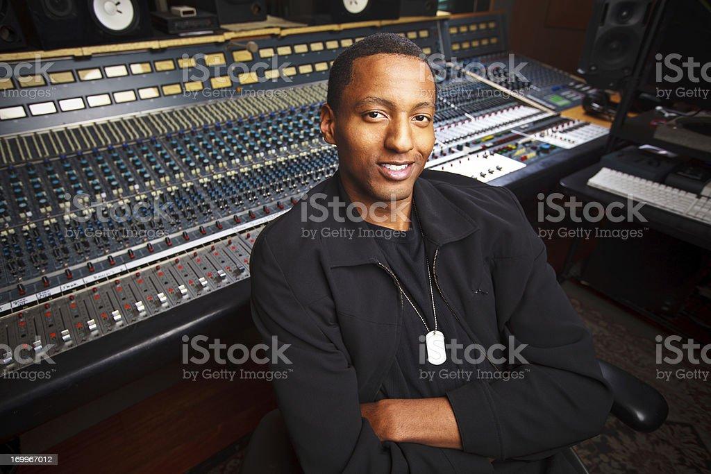 African-American Recording Engineer in the Studio stock photo