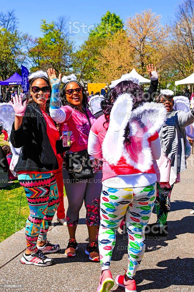 African-American women atthe Sista Strut cancer walk in Nashville stock photo