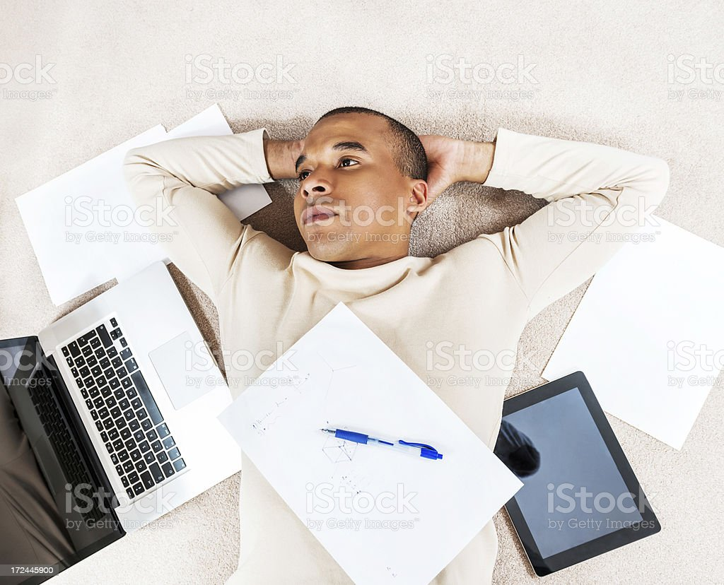 African-American working from home. royalty-free stock photo