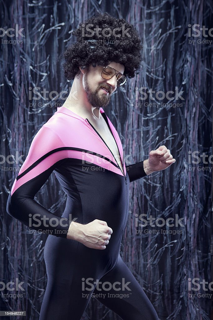 Afro Aerobics Instructor from the 1980's Dancing stock photo