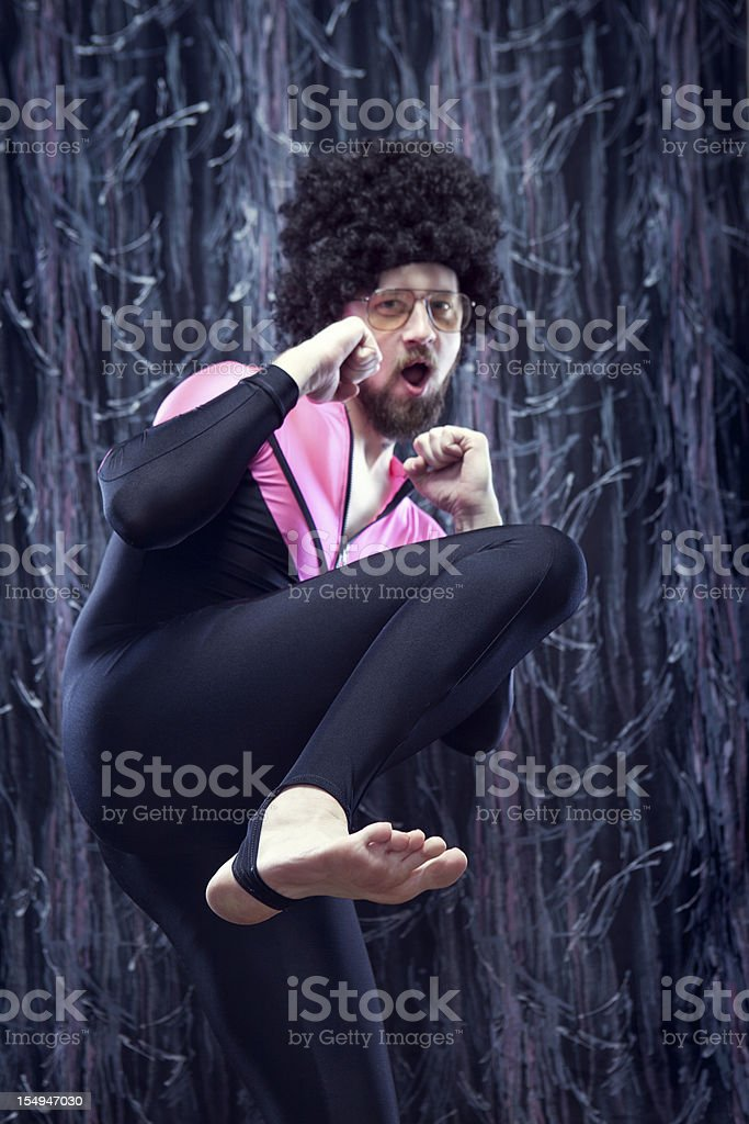 Afro Aerobics Instructor from the 1980's stock photo