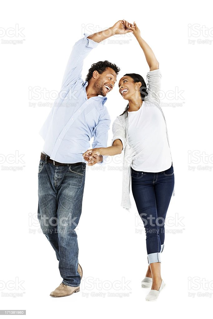 Afro American couple dancing on white background royalty-free stock photo