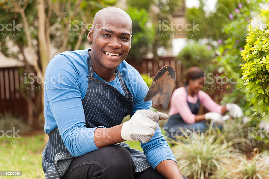 afro american couple gardening stock photo