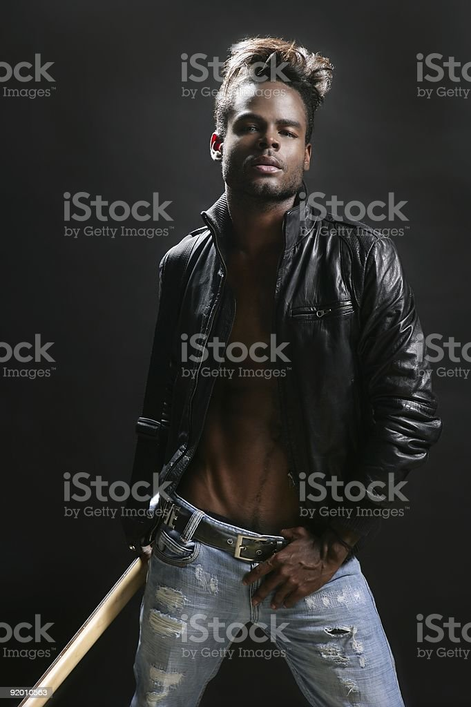 Afro american leather rock star musician royalty-free stock photo