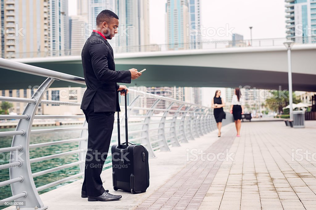 Afro american waiting for job interview. stock photo