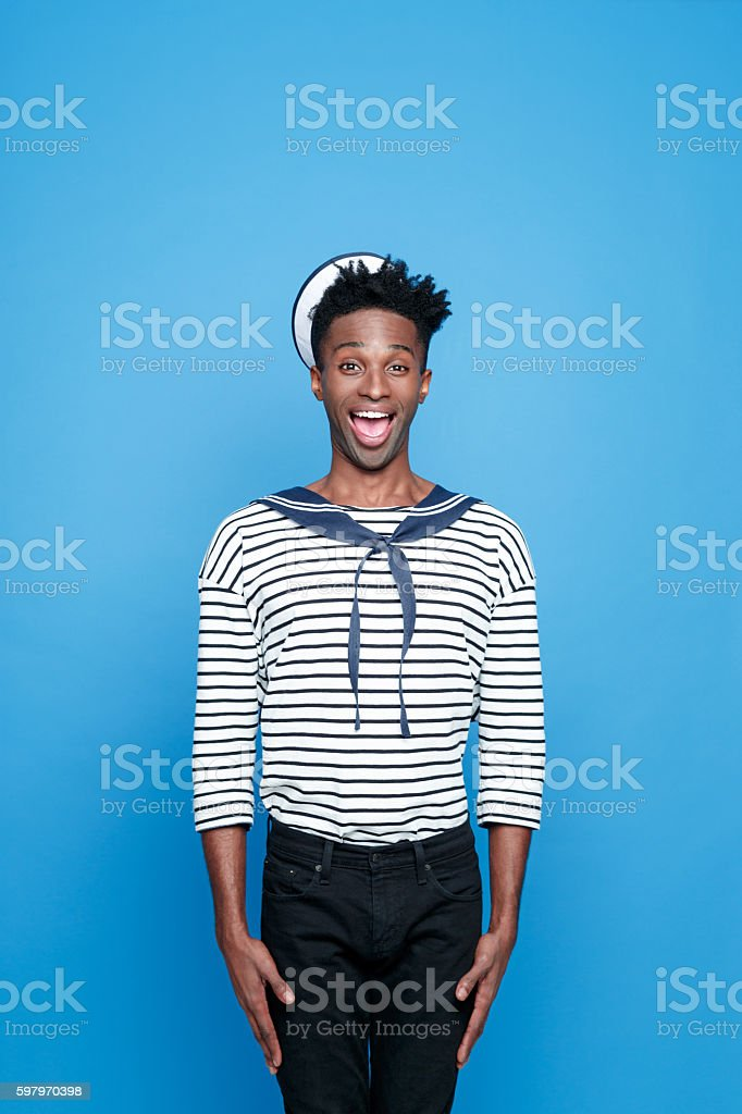 Afro american young sailor standing at attention stock photo