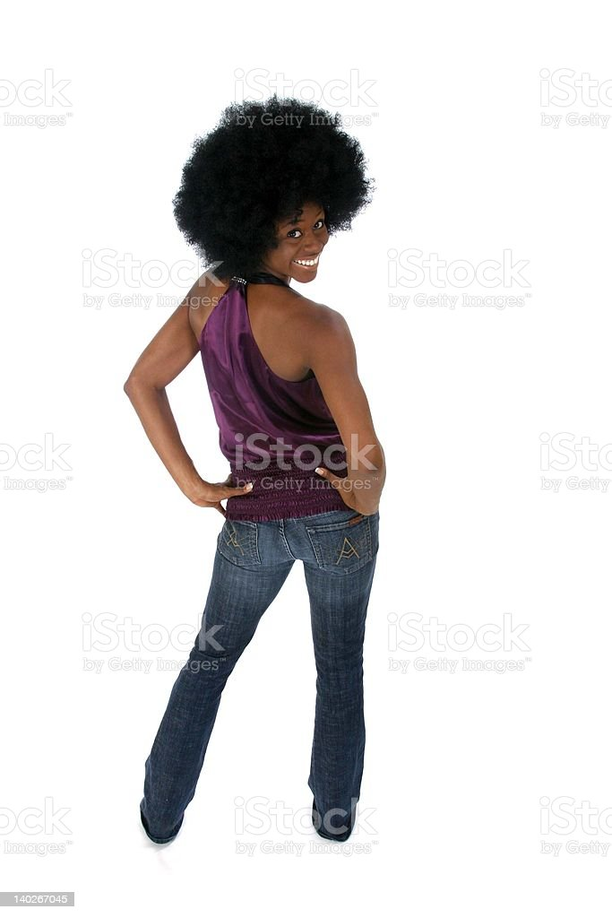 Afro back view royalty-free stock photo