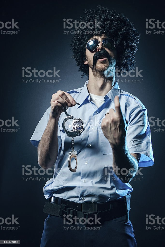 Afro Cop With Huge Mustache stock photo