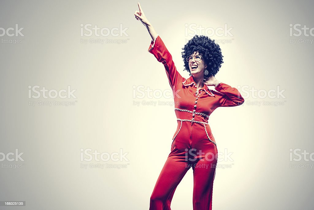 Afro Disco Dancer with Jumpsuit stock photo