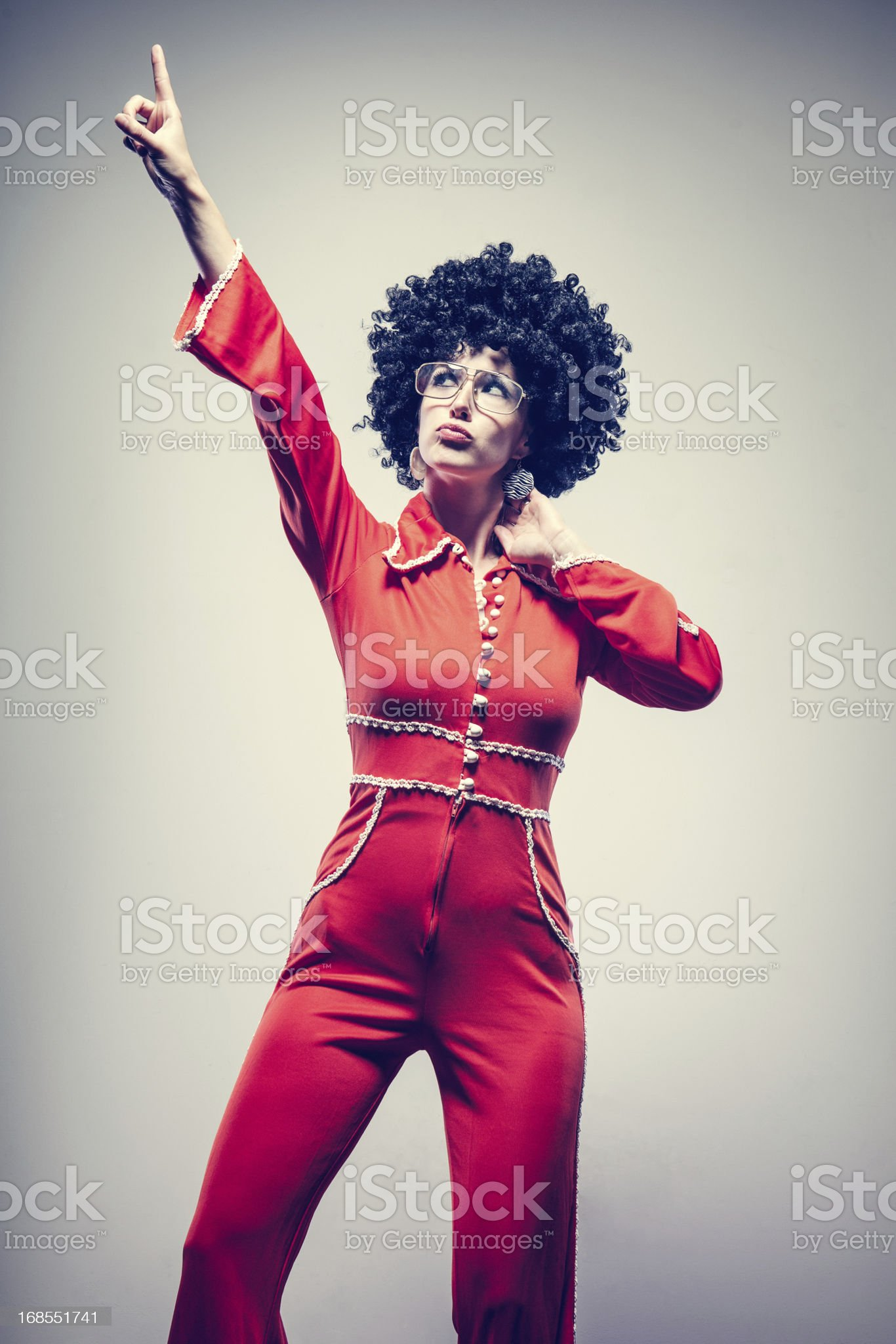 Afro Disco Dancer with Jumpsuit royalty-free stock photo