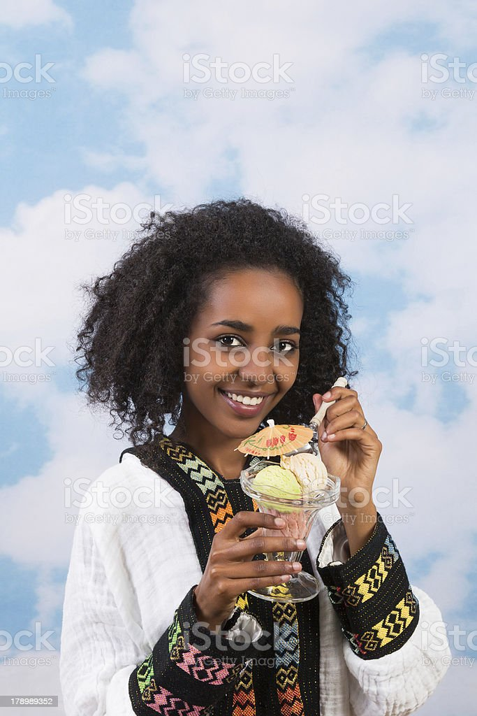 Afro girl with icecream royalty-free stock photo