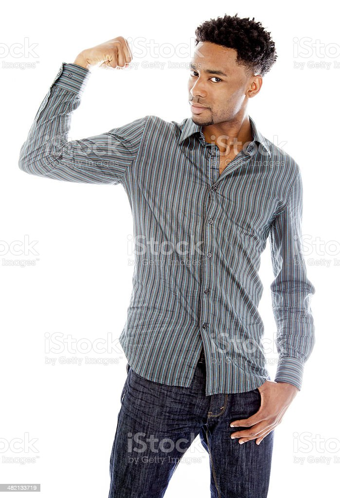 Afro-american man wearing a casual outfit isolated on white background stock photo