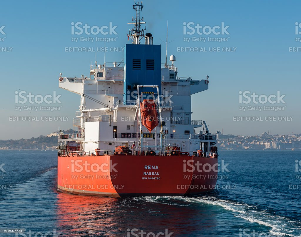 Aft of bulk carrier ship - RENA NASSAU passing bosphorus stock photo