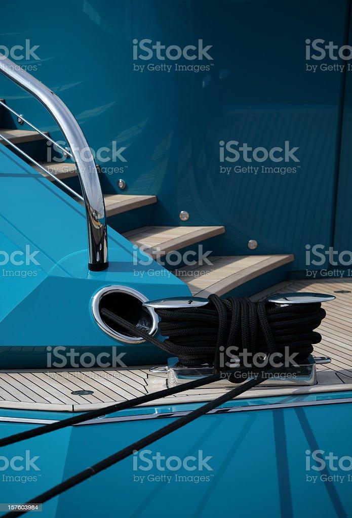 Aft of large blue yacht royalty-free stock photo