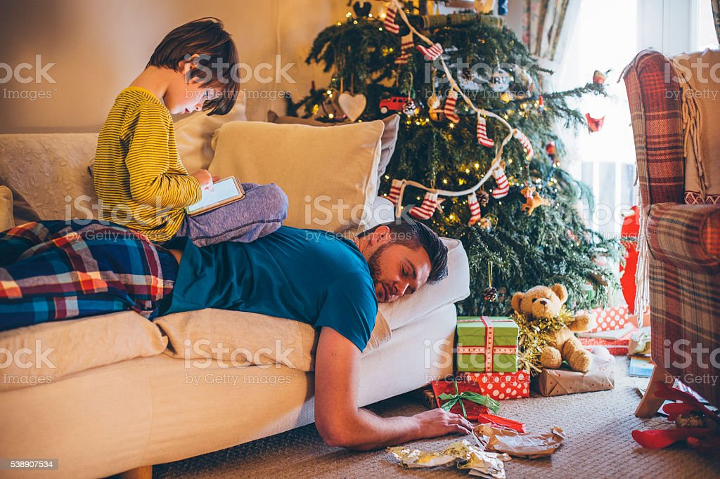 After a Tiring Christmas Day... stock photo
