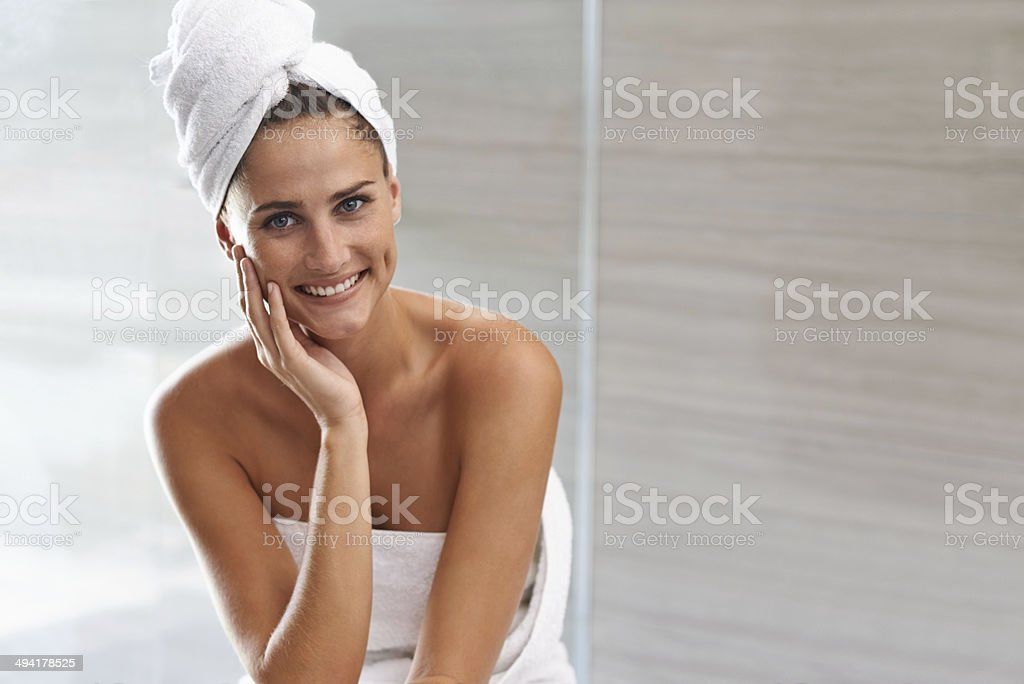 After bath luxuriousness stock photo