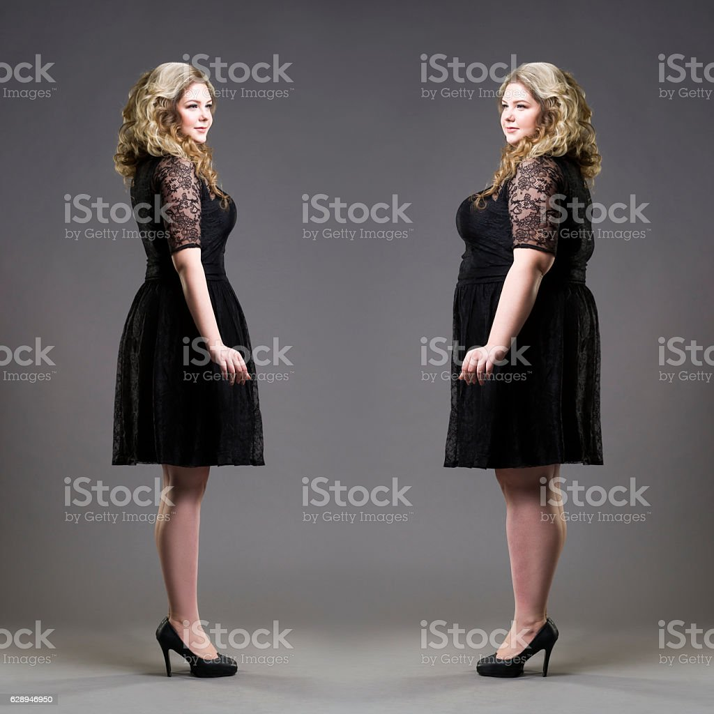 After before loss weight concept, plus size and slim models stock photo