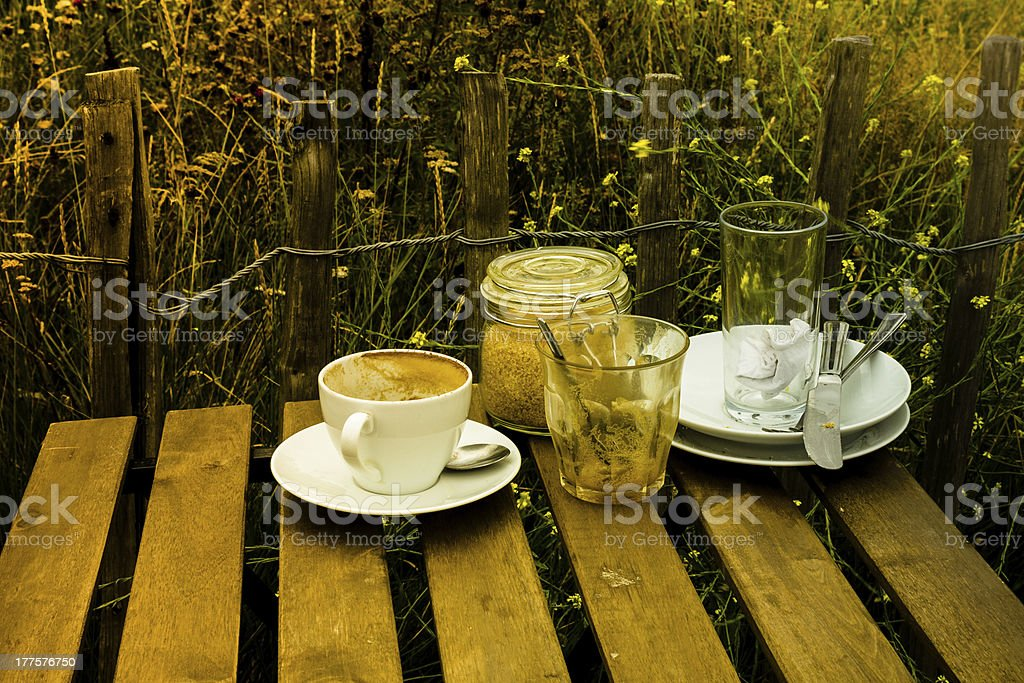 After breakfast on a sunny day outdoors royalty-free stock photo
