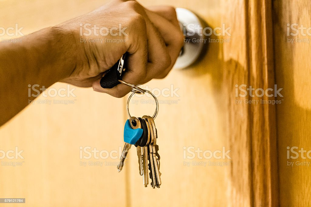 After busy day at work reached home now! stock photo