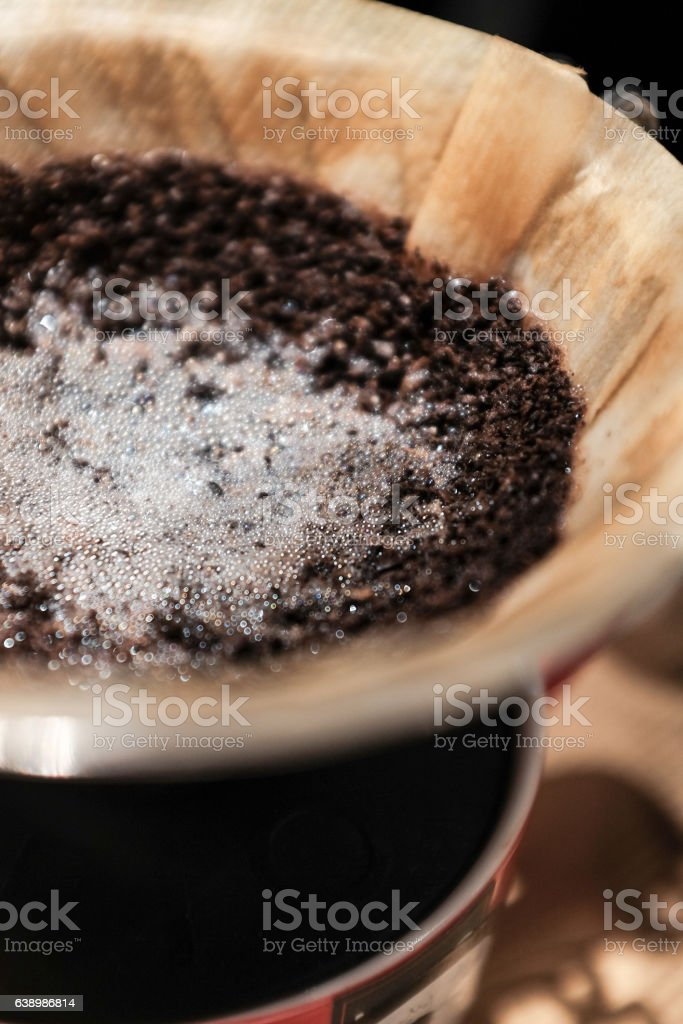 after coffee brewing stock photo