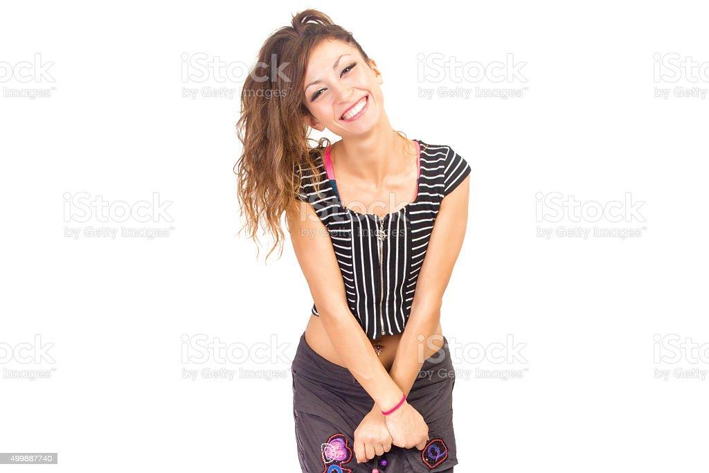 After Dance joyfull woman stock photo