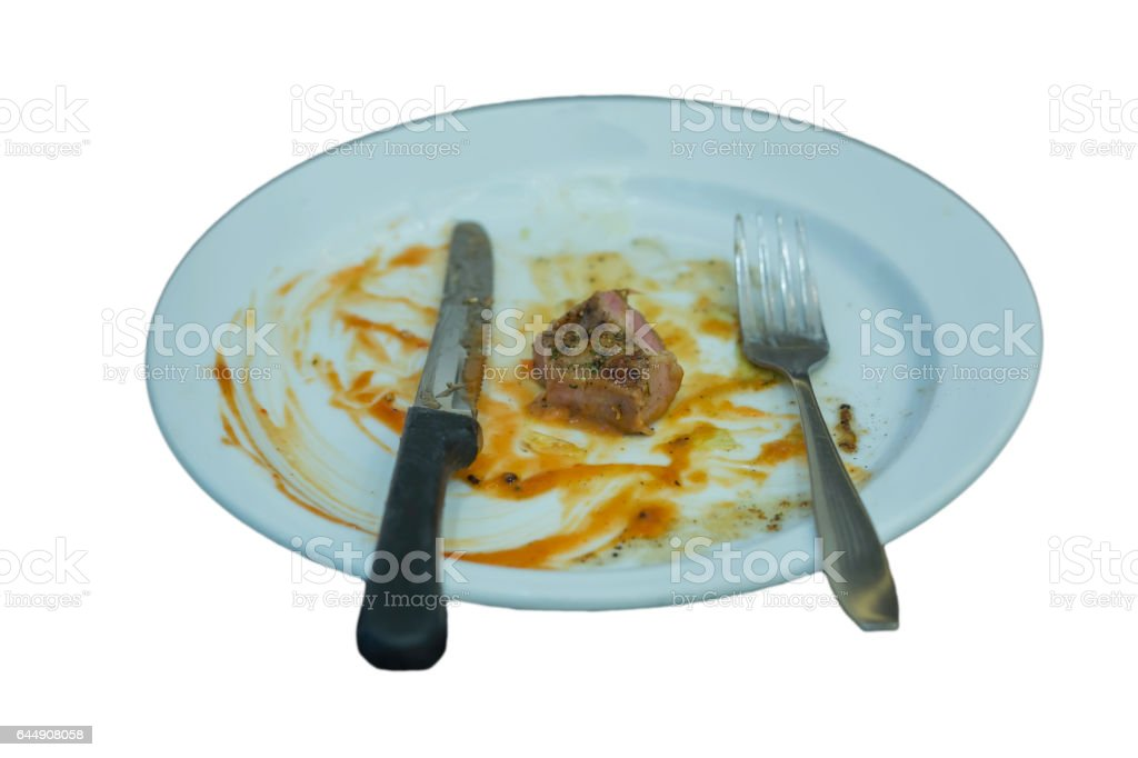 After finished the steak dish stock photo