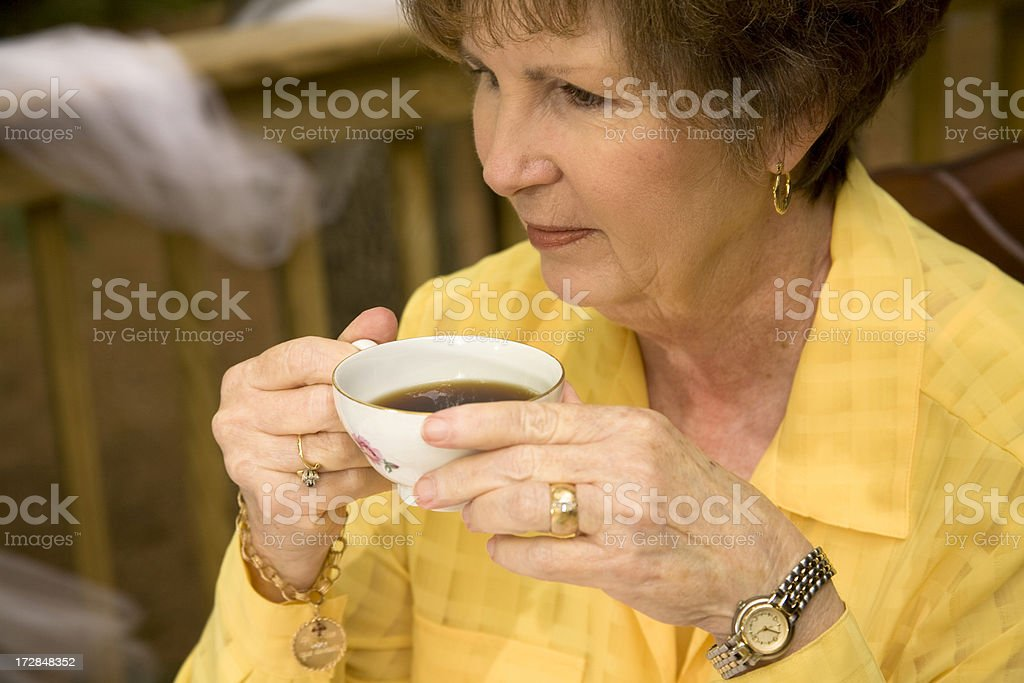 After luncheon coffee and cake royalty-free stock photo