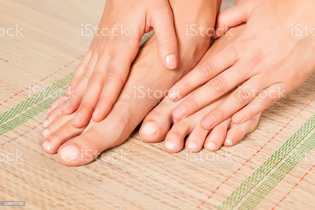 after pedicure stock photo