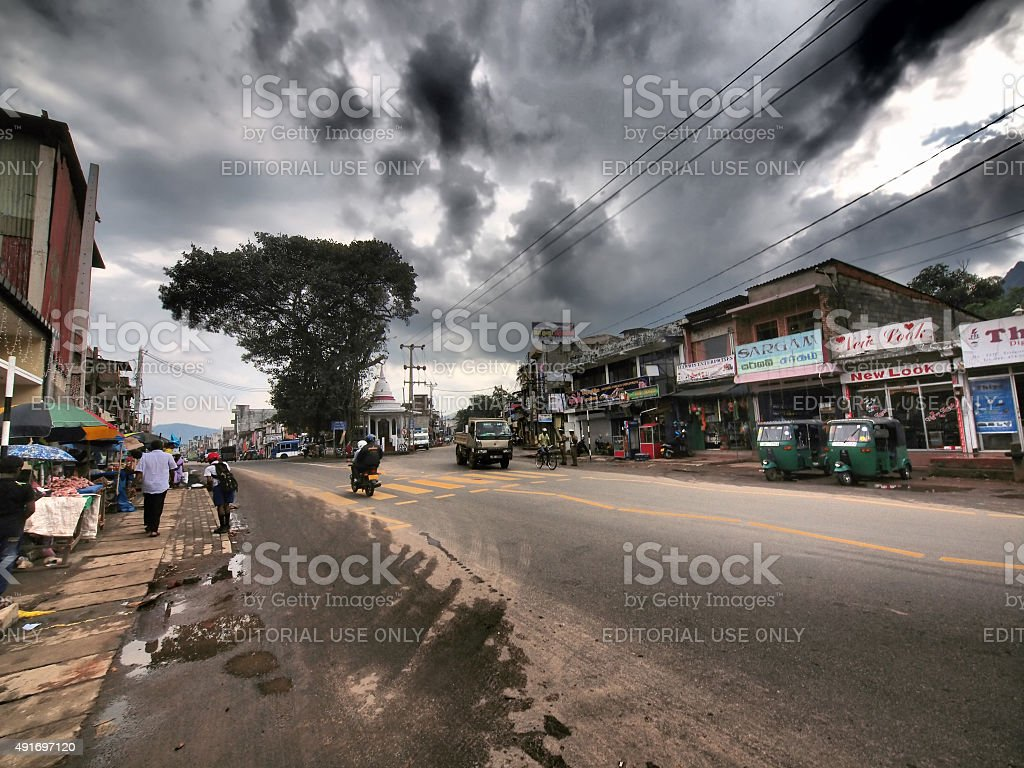 After rain detail from street in Matale, central Sri Lanka stock photo