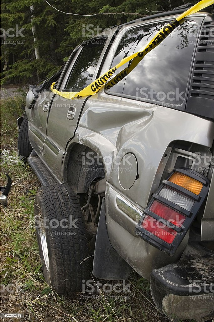 SUV after rollover stock photo