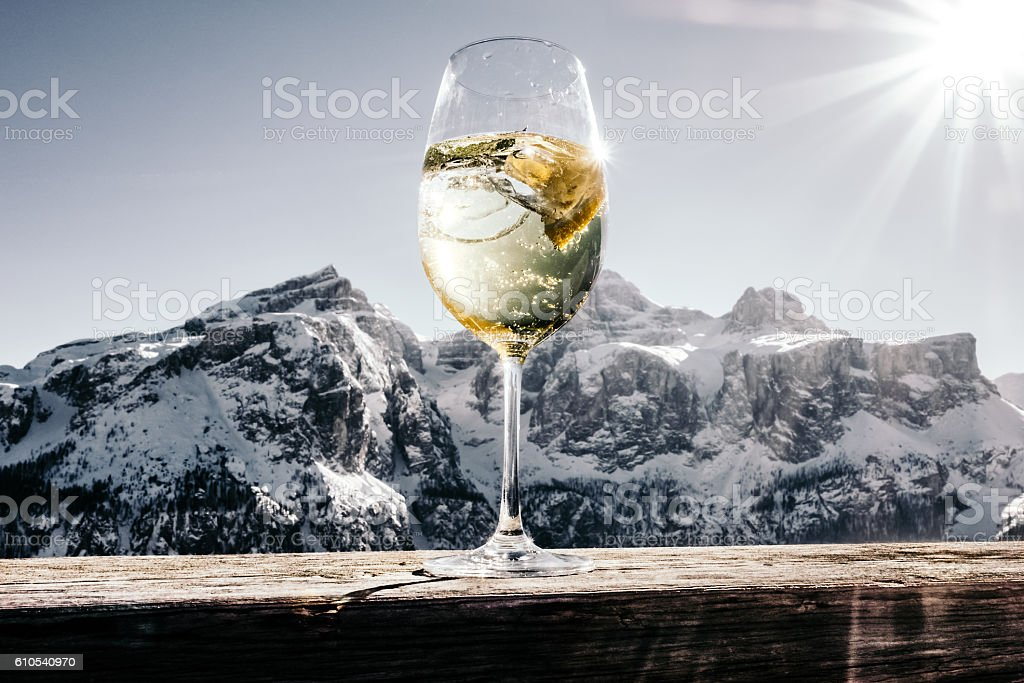 apres ski dolomites stock photo