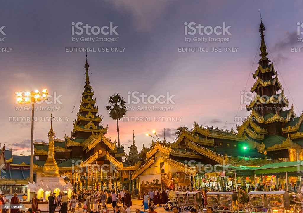 After Sunset at a busy Temple stock photo