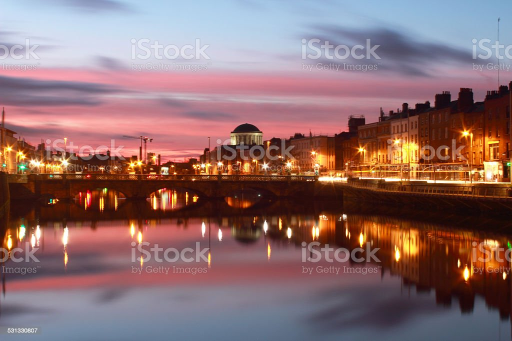 After Sunset Colors at River Liffey, Dublin, Ireland stock photo