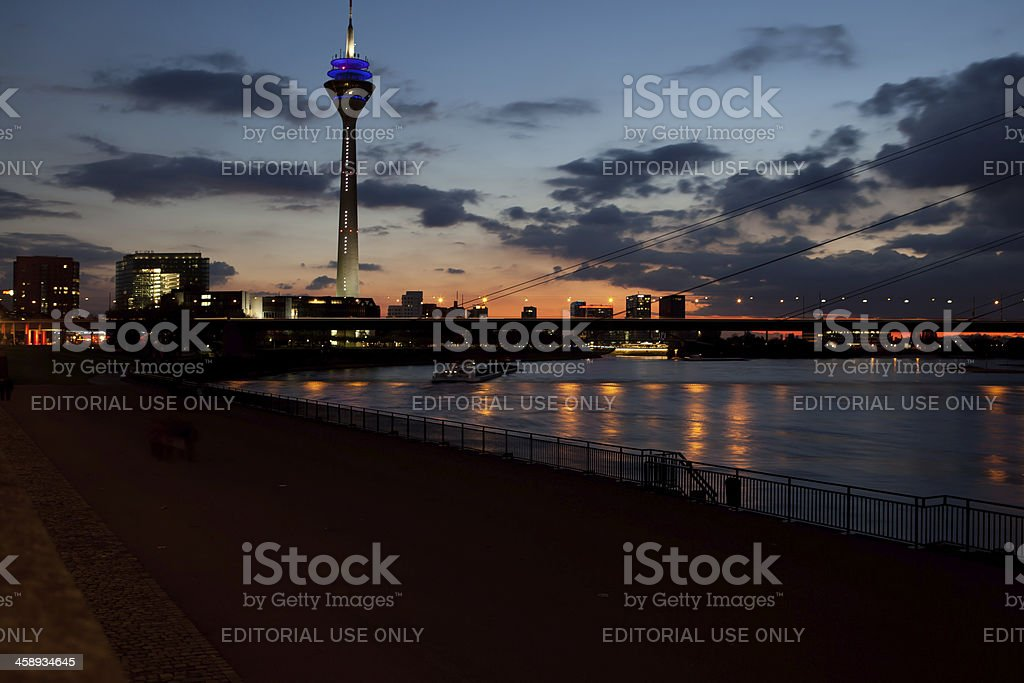 after sunset in Düsseldorf royalty-free stock photo