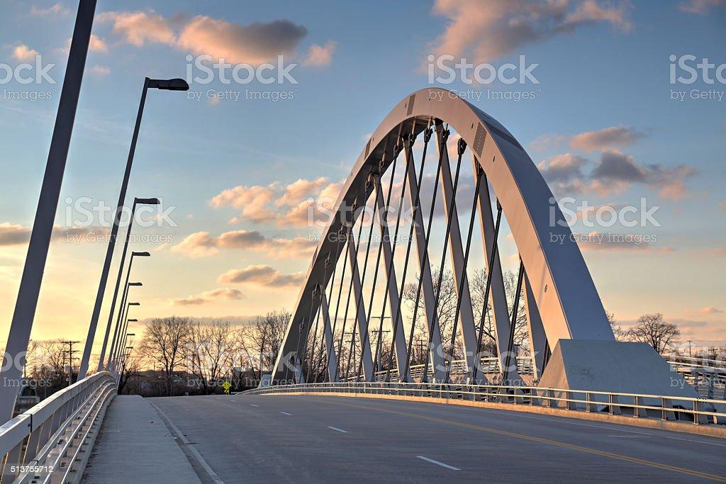 After sunset shot of the Main Street bridge Columbus, Ohio stock photo